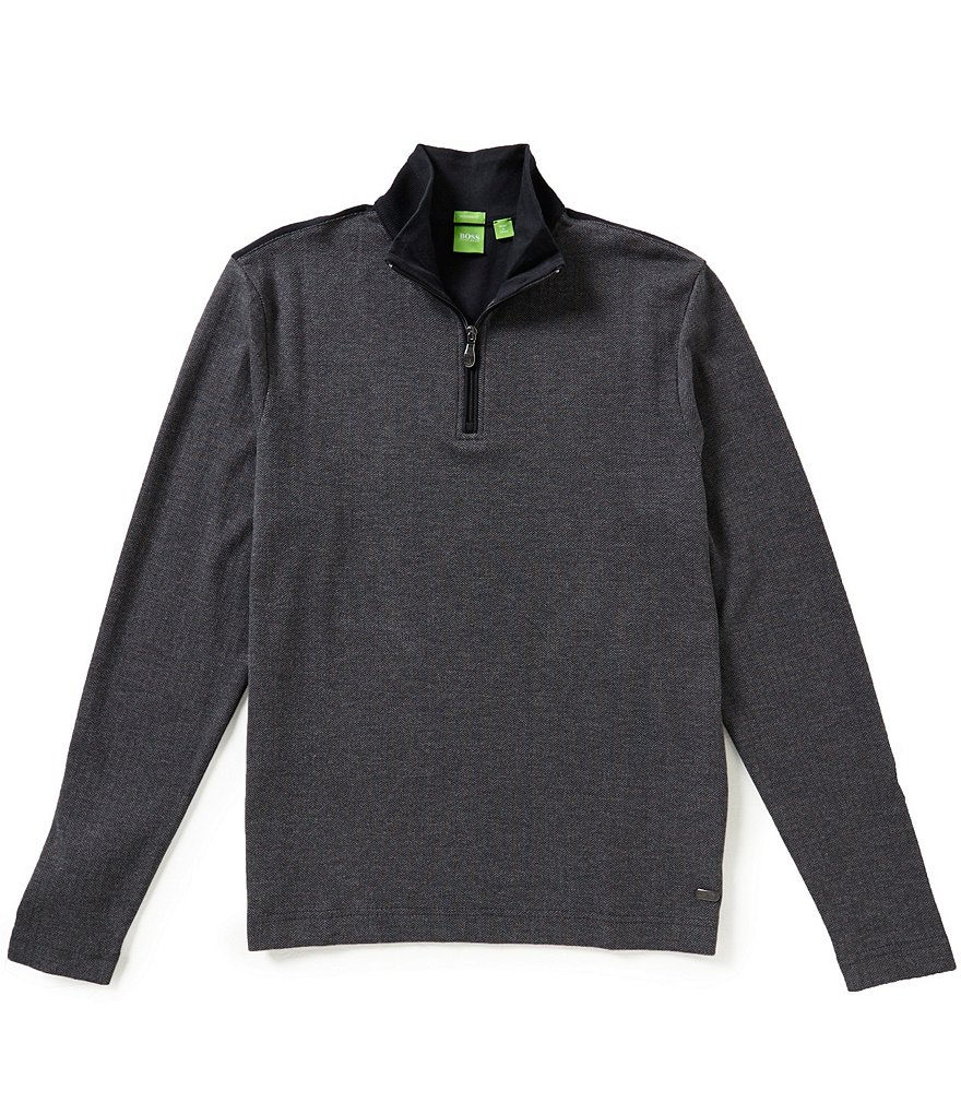 BOSS Green Piceno Double-Face Quarter-Zip Herringbone Pullover