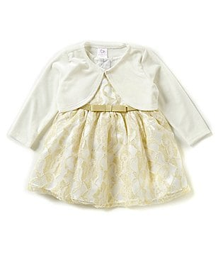 Sweetheart Rose Baby Girls 12-24 Months Lace Dress and Cardigan Set