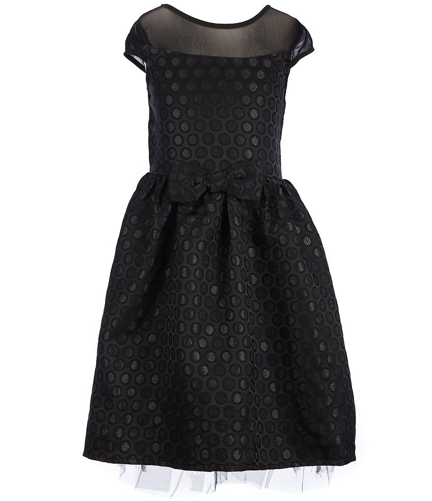 Honey and Rosie Big Girls 7-16 Illusion Bow Dotted A-line Dress