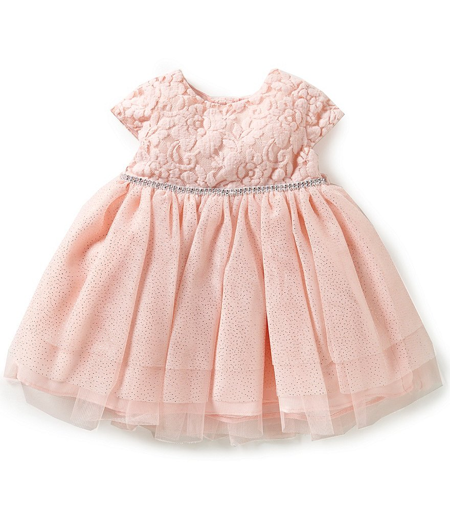 Sweet Heart Rose Baby Girls 12-24 Months Textured Knit Bodice to Mesh Tiered Dress