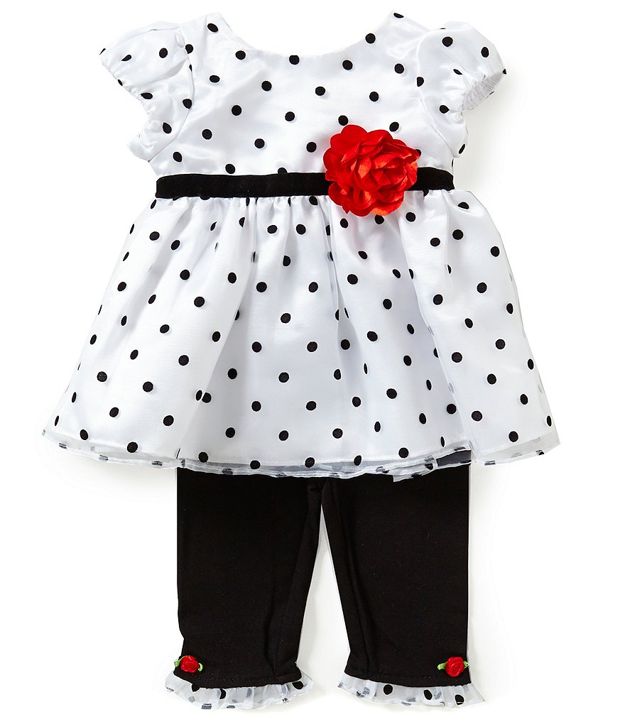 Sweetheart Rose Newborn-24 Months Dotted Dress & Leggings Set