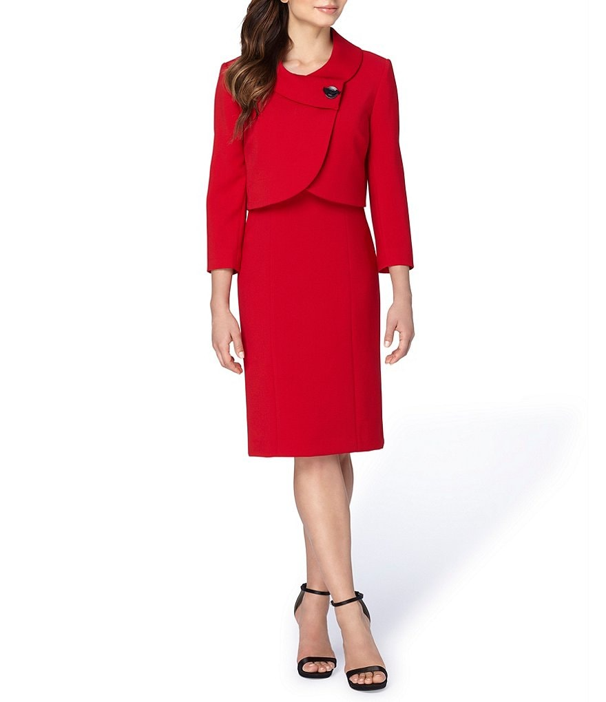 Tahari ASL Ponte 2-Piece Cropped Jacket Dress