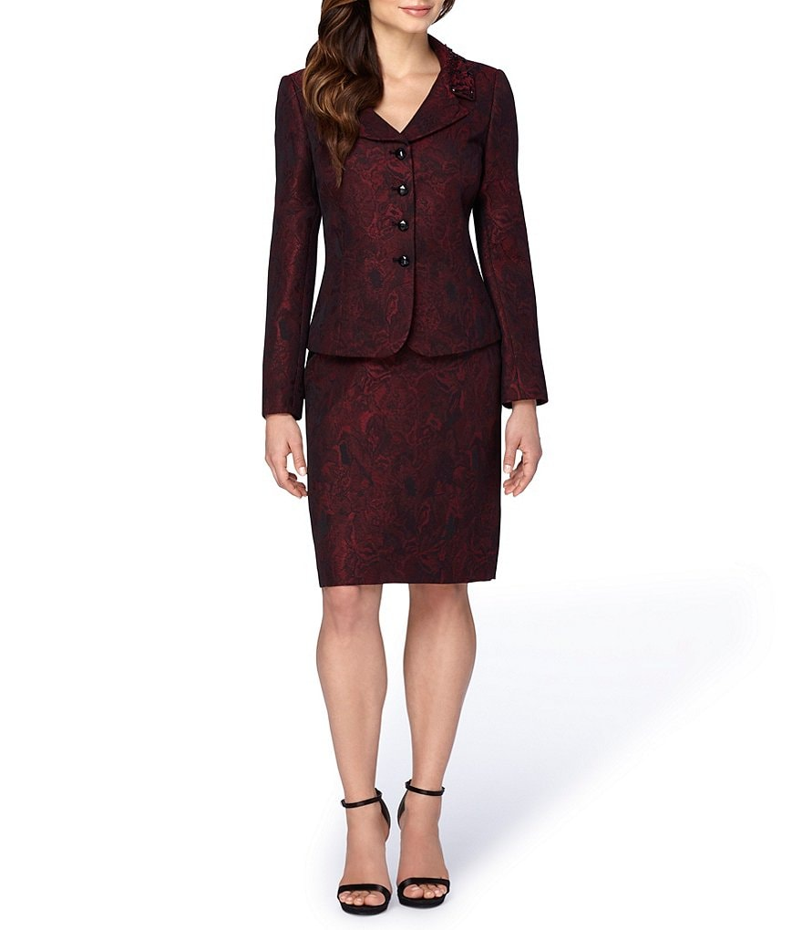 Tahari ASL Beaded-Neck Jacquard 2-Piece Skirt Suit