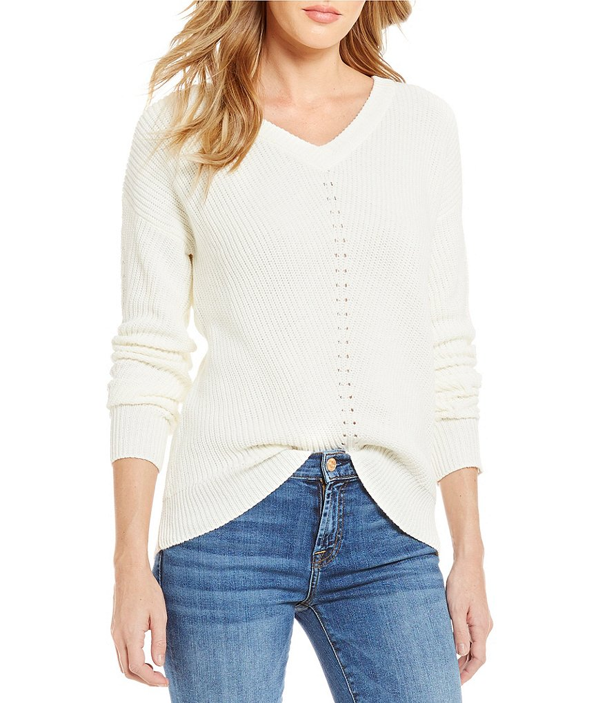 Michael Stars V-Neck Long Sleeve Cold-Shoulder Solid Sweater