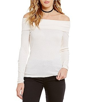 Michael Stars Long Sleeve Off The Shoulder Top