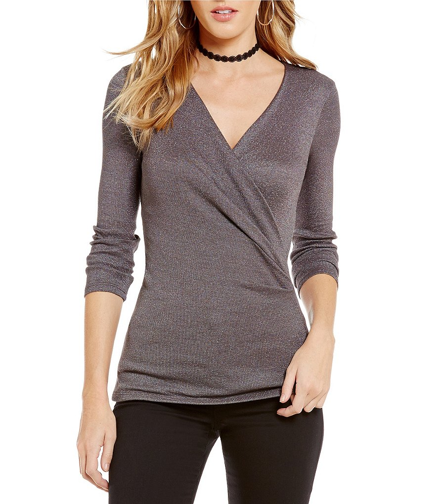 Michael Stars 3/4 Sleeve Surplice V-Neck Top