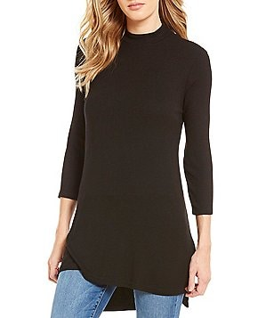 Michael Stars Mock Neck 3/4 Sleeve Side Slit Solid Tunic