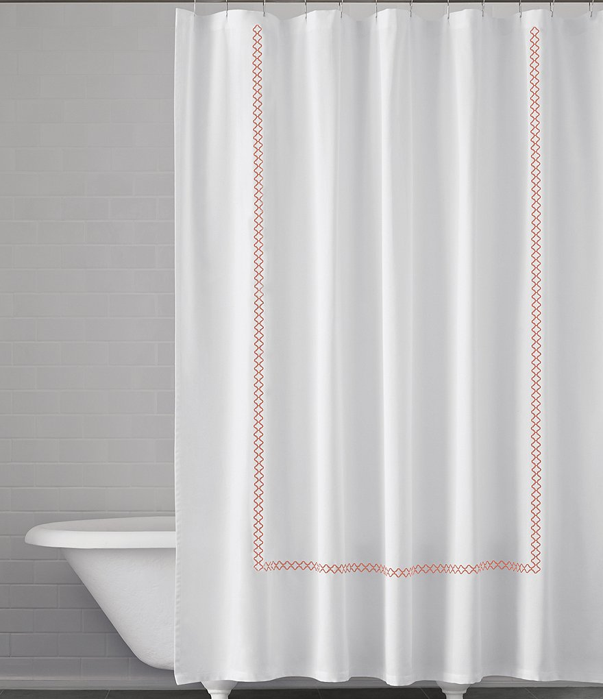 Kassatex Tivoli Quatrefoil-Embroidered Cotton Shower Curtain