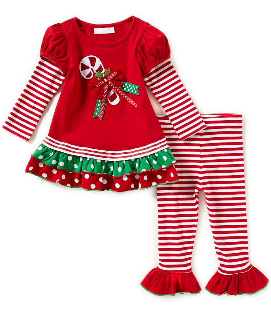Bonnie Baby Baby Girls Newborn-24 Months Christmas Candy-Cane-Applique Dress & Striped Leggings Set