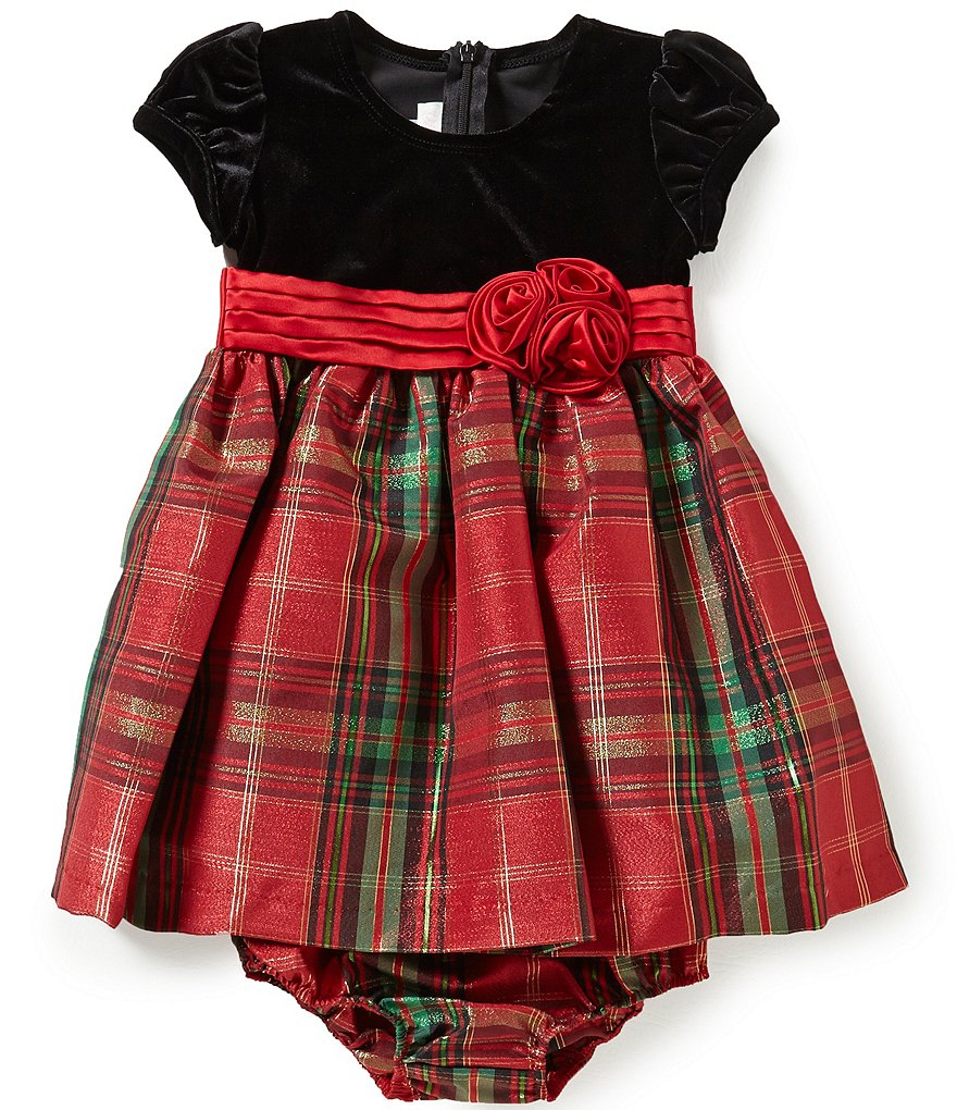 Bonnie Baby Girls Newborn-24 Months Solid Velvet and Christmas Plaid Taffeta Dress