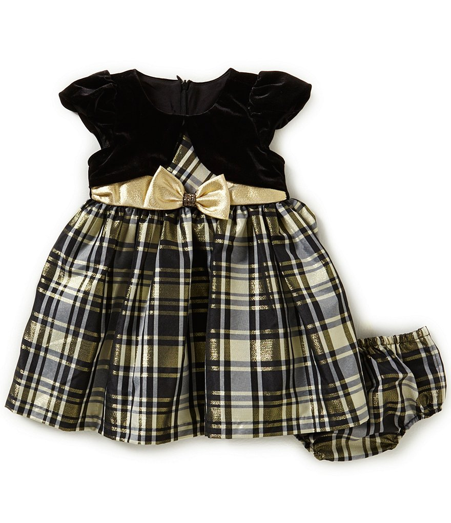 Bonnie Baby Girls Newborn-24 Months Christmas Plaid Taffeta Dress & Cardigan Set