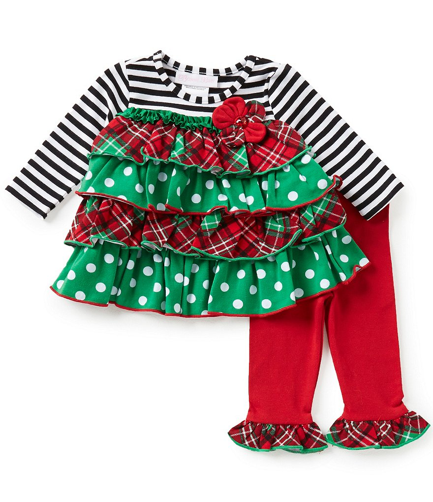 Bonnie Baby Baby Girls Newborn-24 Months Christmas Mixed-Print Tiered Dress & Ruffle-Hem Leggings Set