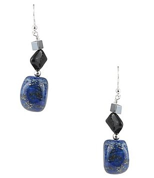 Barse Genuine Hematite, Tiger´s Eye and Lapis Drop Earrings