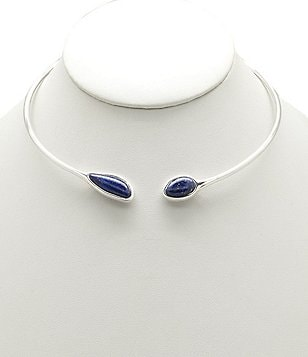 Barse Sterling Silver and Lapis Choker Necklace