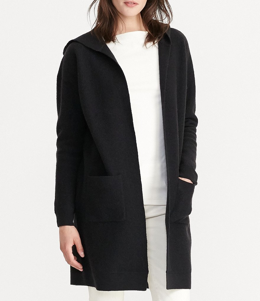Lauren Ralph Lauren Hooded Open Front Solid Wool Cardigan
