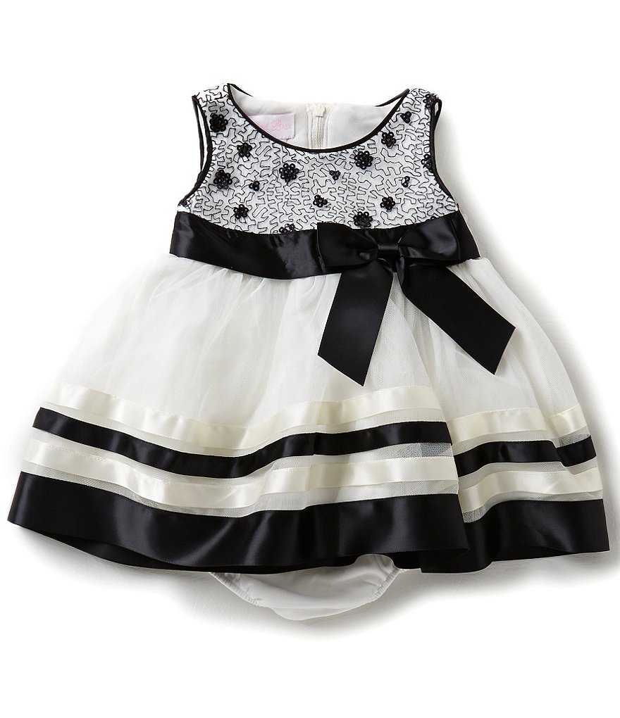 Bonnie Baby Baby Girls Newborn-24 Months Sequin-Embellished Mesh Bodice Ribbon-Trimmed-Skirted Dress