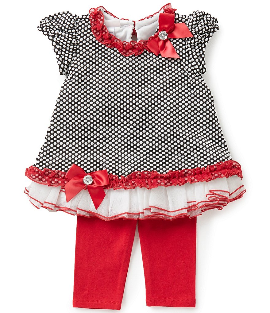 Bonnie Baby Baby Girls Newborn-24 Months Dotted Mesh Bubble Top & Solid Leggings Set