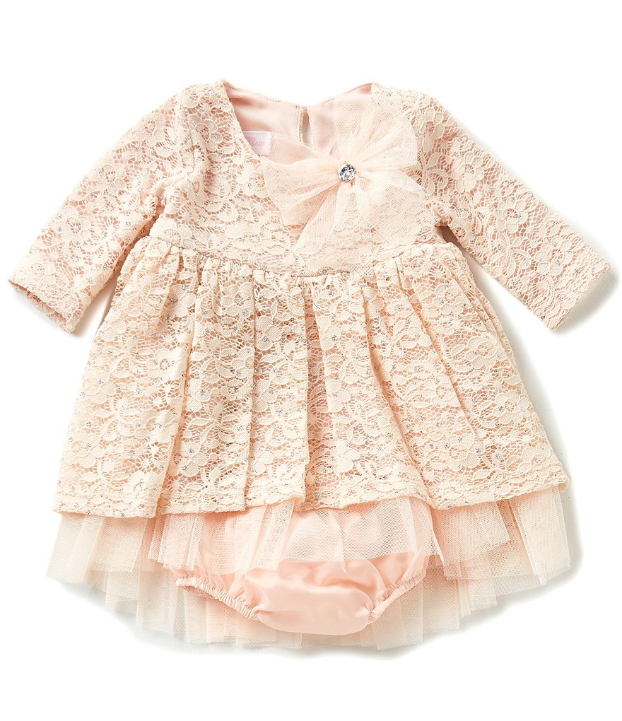 Bonnie Baby Baby Girls Newborn-24 Months Embellished Lace Dress
