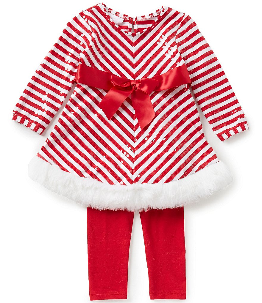 Bonnie Baby Girls Newborn-24 Months Christmas Mitered-Stripe Faux-Fur Dress & Solid Leggings Set