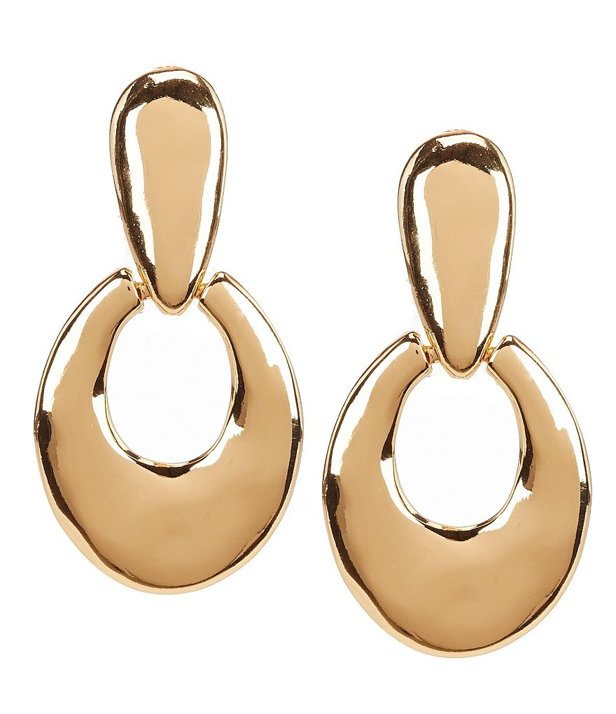 Dillard´s Tailored Hammered Doorknocker Clip-On Earrings