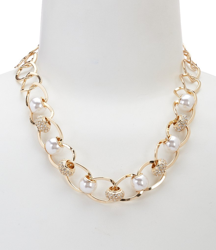Dillard´s Tailored Pearl & Crystal Link Collar Necklace