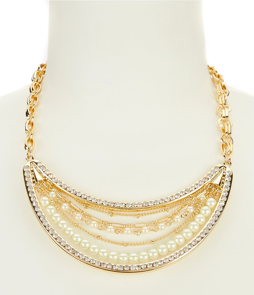 Dillard´s Tailored Pavé Pearl & Crystal Statement Necklace