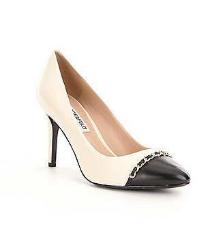 Karl Lagerfeld Paris Jaden Color Block Gold Chain Detailed Pumps