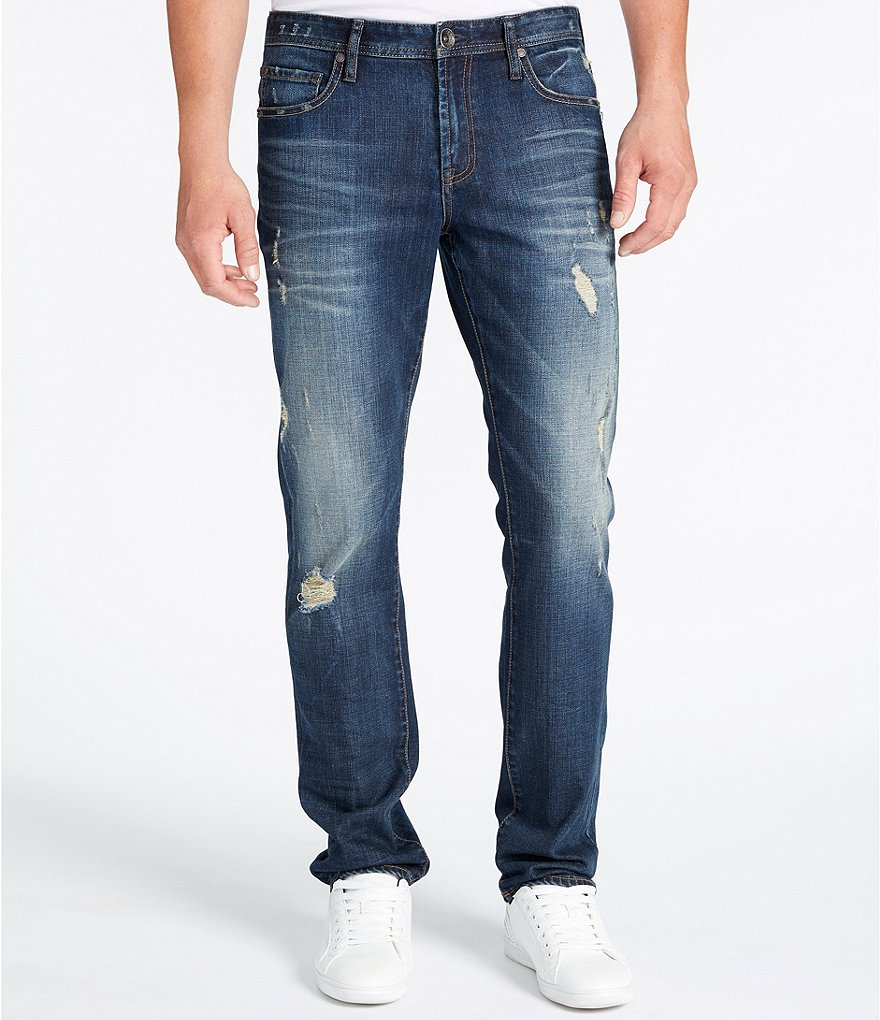 William Rast Dean Slim Straight Destructed Jeans