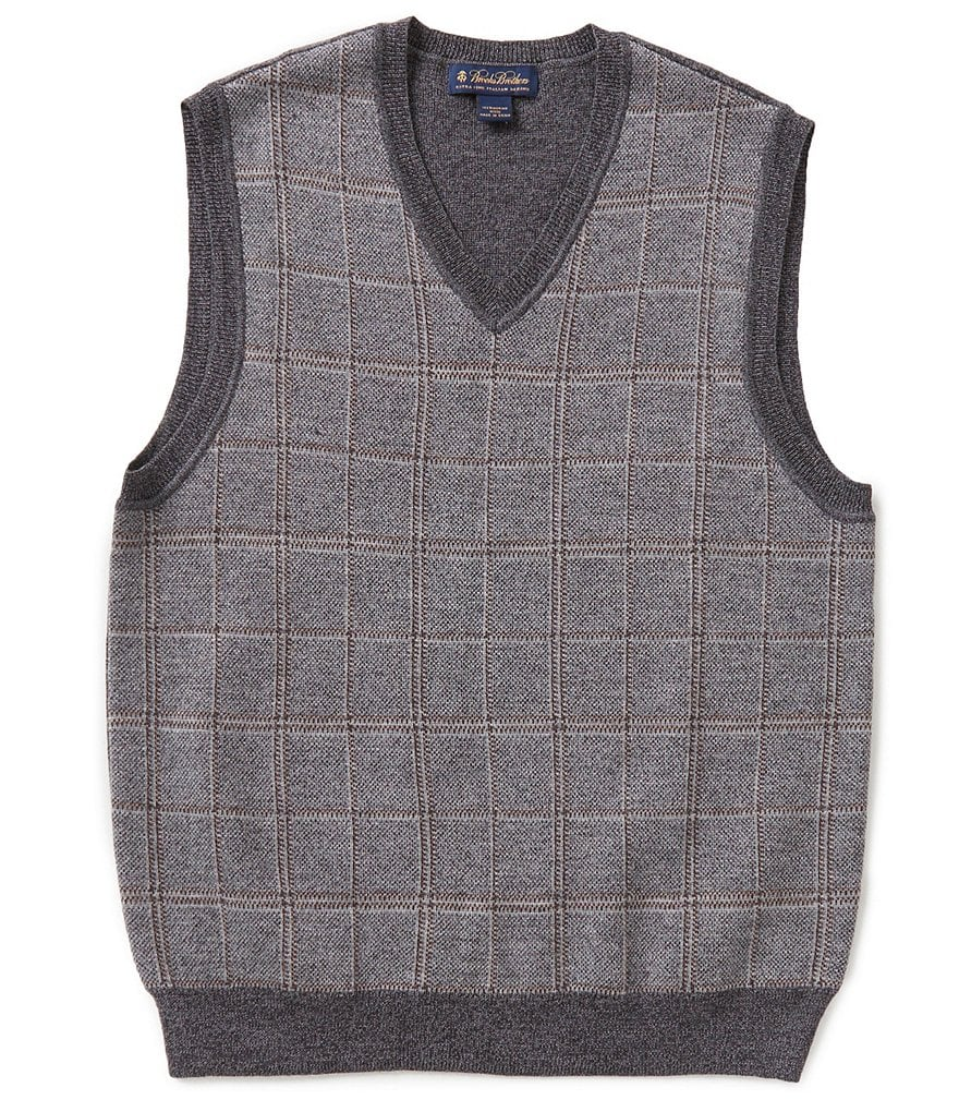 Brooks Brothers Plaid V-Neck Sweater Vest