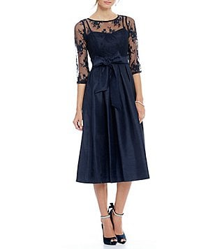 Jessica Howard Illusion Sweetheart Neck Inset Waist Tie-Sash Pleated Skirt Dress