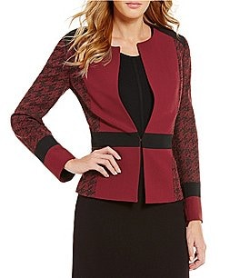 Preston & York Bobbi Hook Front Crepe Houndstooth Jacket Image
