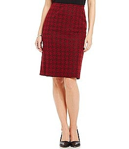 Preston & York Kelly Houndstooth Crepe Pencil Skirt Image