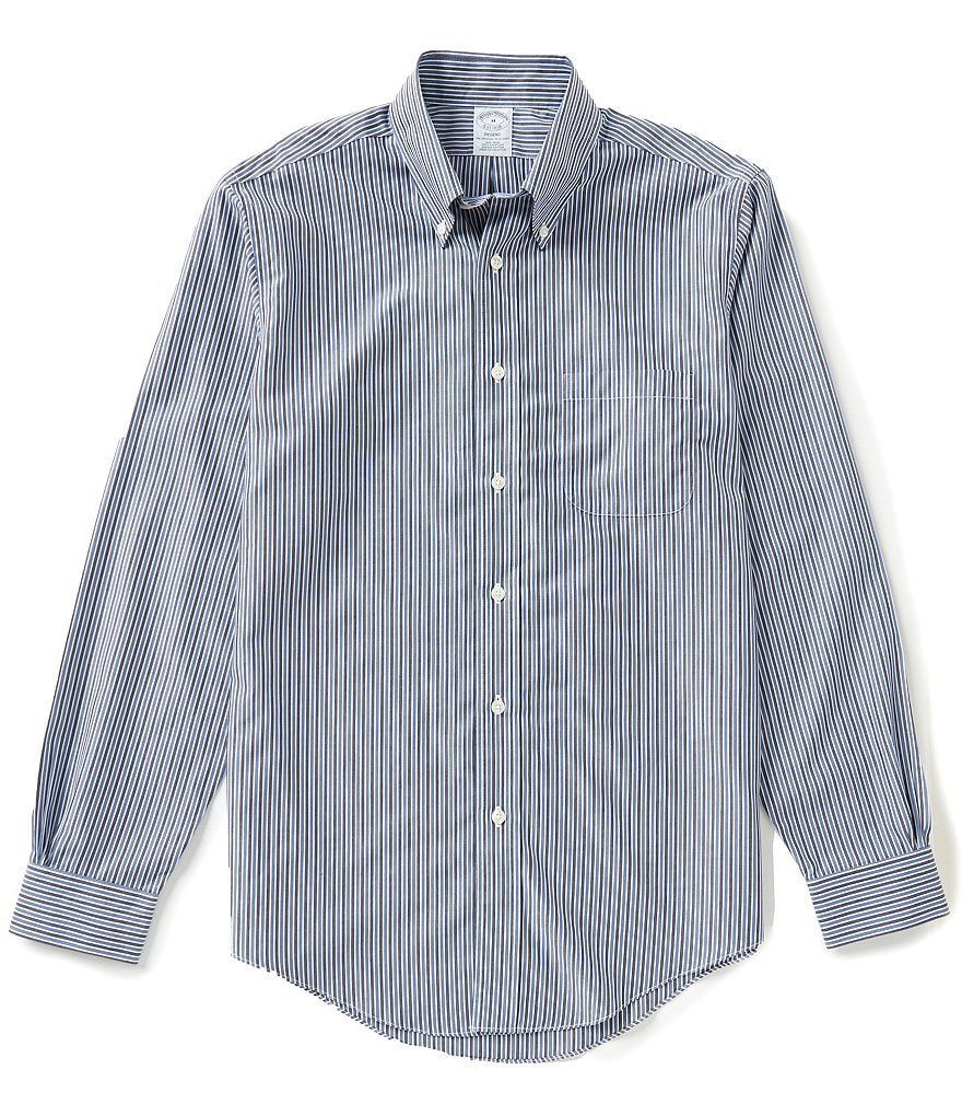Brooks Brothers Non-Iron Striped Poplin Regent-Fit Long-Sleeve Woven Shirt