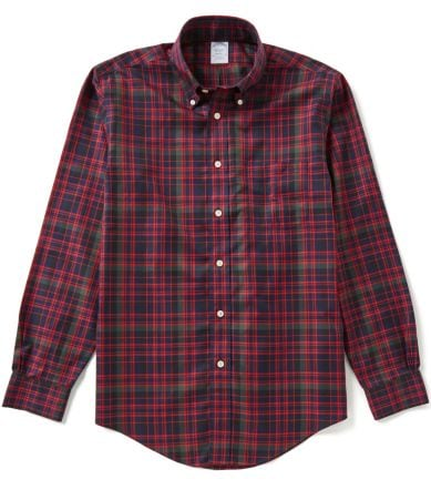 Brooks brothers non iron plaid long sleeve woven shirt for Brooks brothers non iron shirt review