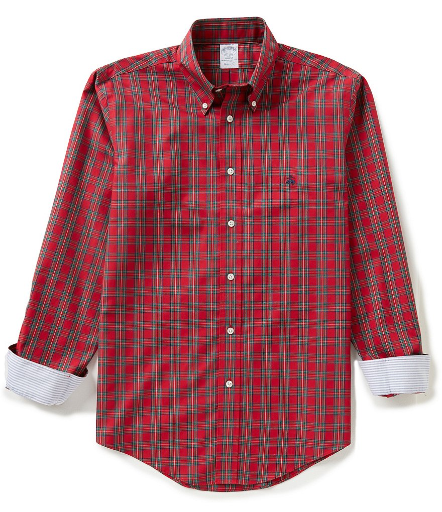 Brooks Brothers Non-Iron Plaid Long-Sleeve Woven Shirt