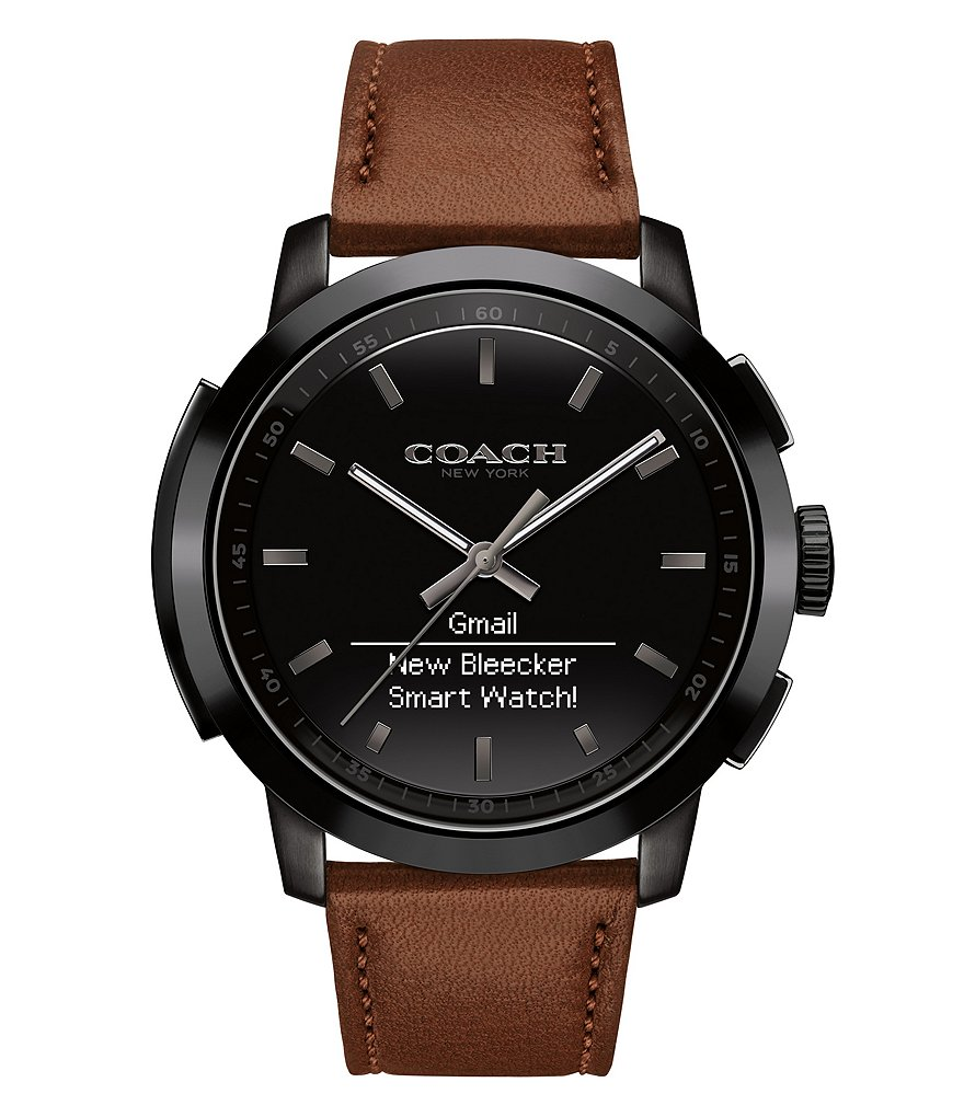COACH BLEECKER BLACK DIAL AND BROWN SADDLE LEATHER STRAP SMART WATCH