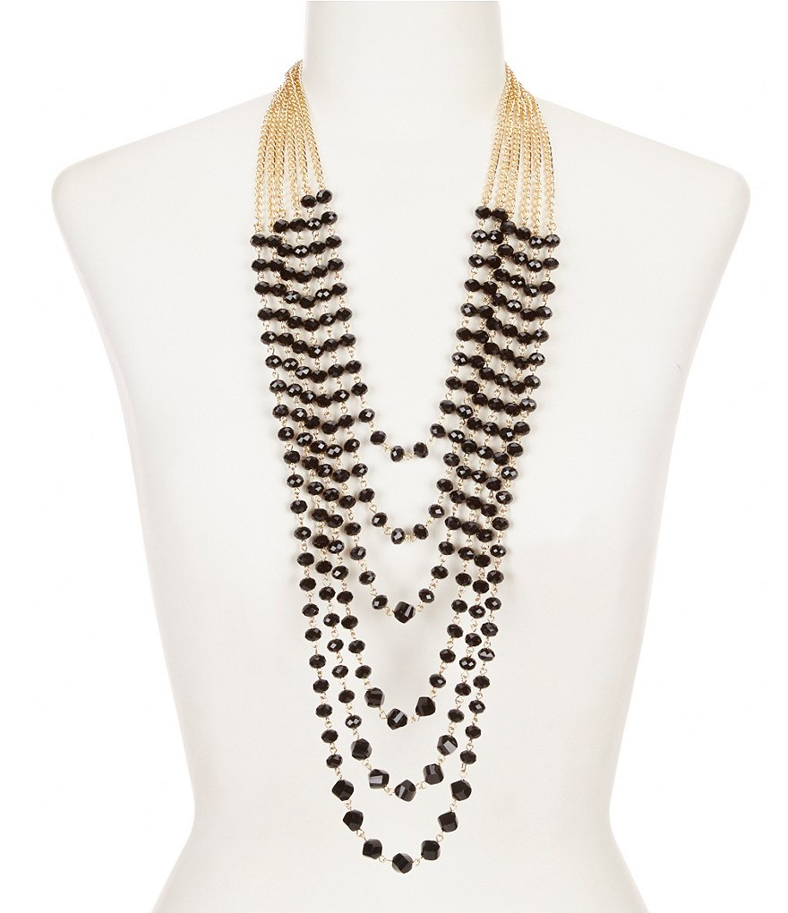 Natasha Accessories Beaded 6-Row Necklace