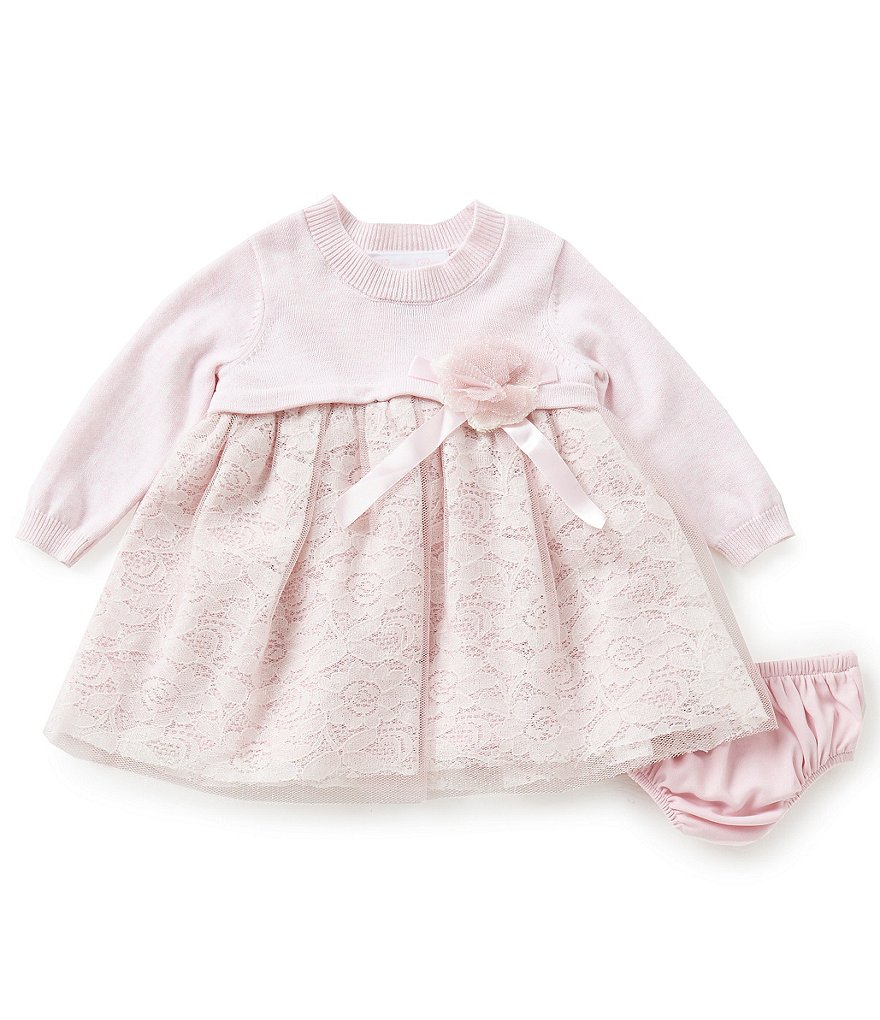 Bonnie Baby Girls Newborn-24 Months Sweater-Knit Lace-Overlay Dress