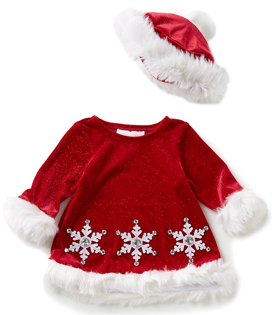 Bonnie Baby Baby Girls Newborn-24 Months Christmas Faux-Fur Trim Santa Snowflake-Appliquéd Dress