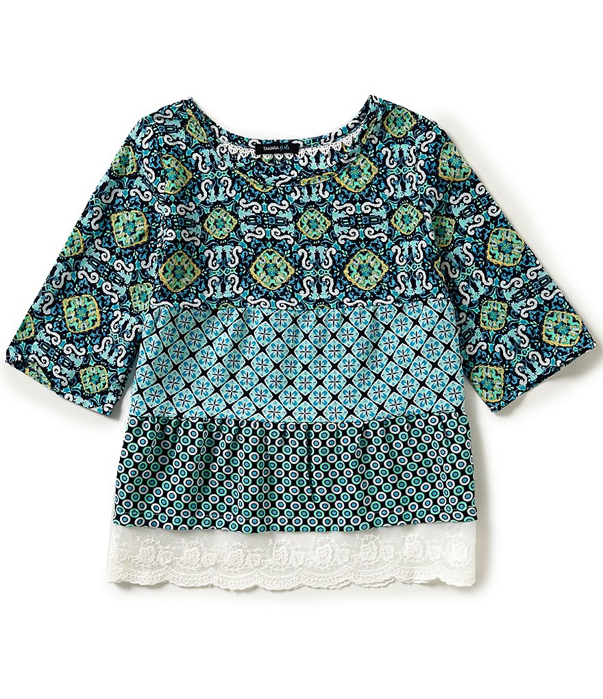Takara Big Girls 7-16 Mixed-Print Scalloped Lace Hem Top