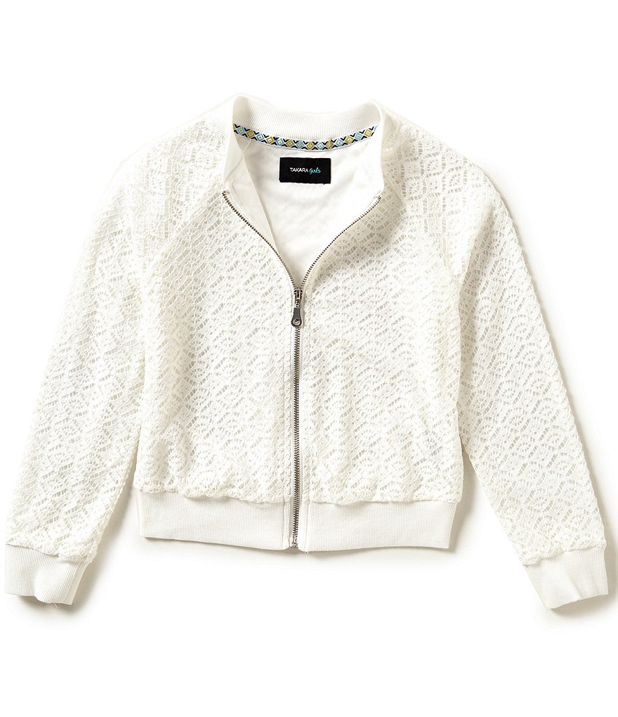 Takara Big Girls 7-16 Crochet Lace Bomber Jacket