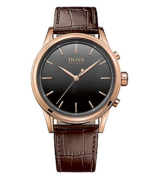 BOSS Smart Classic Rose Gold IP Case Brown Embossed Leather Strap Watch