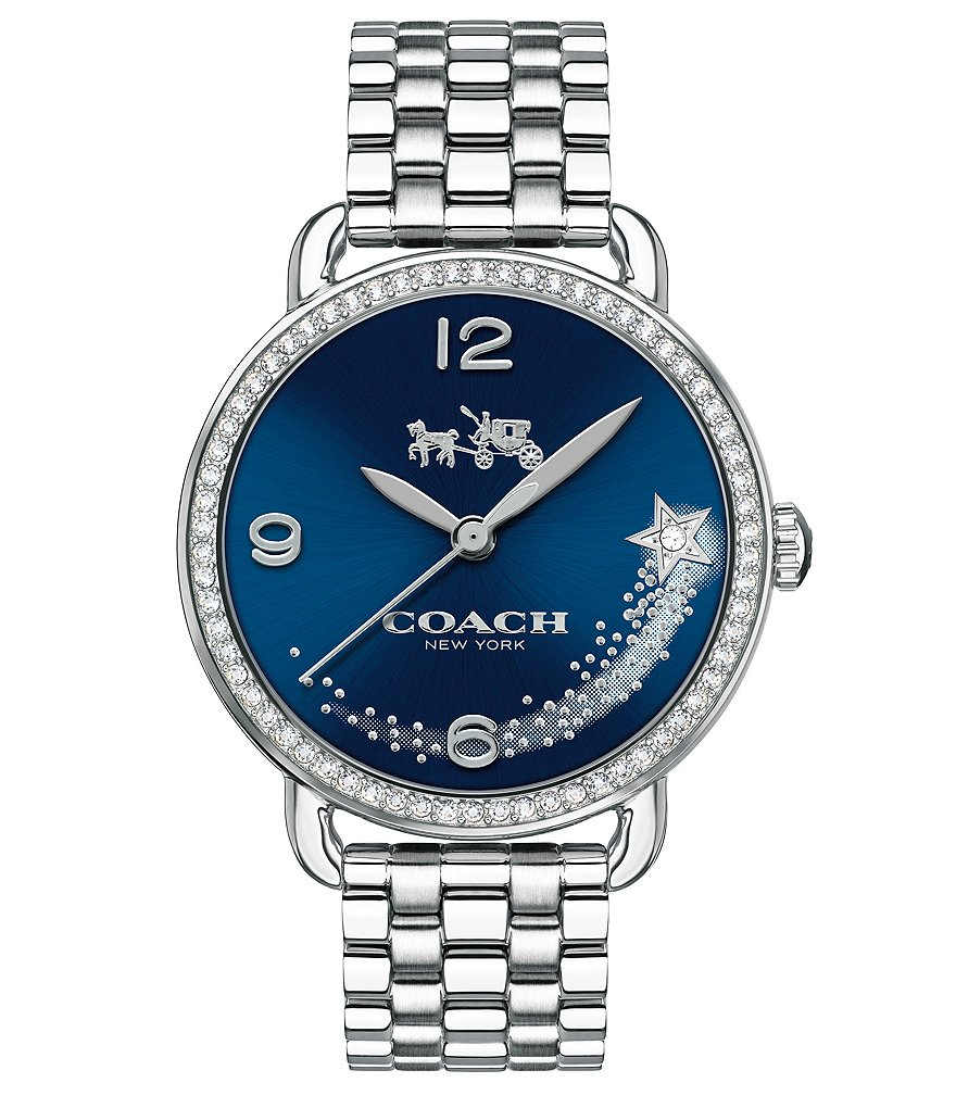 COACH DELANCEY WATCH WITH SET BEZEL, BLUE IP DIAL AND SHOOTING STAR
