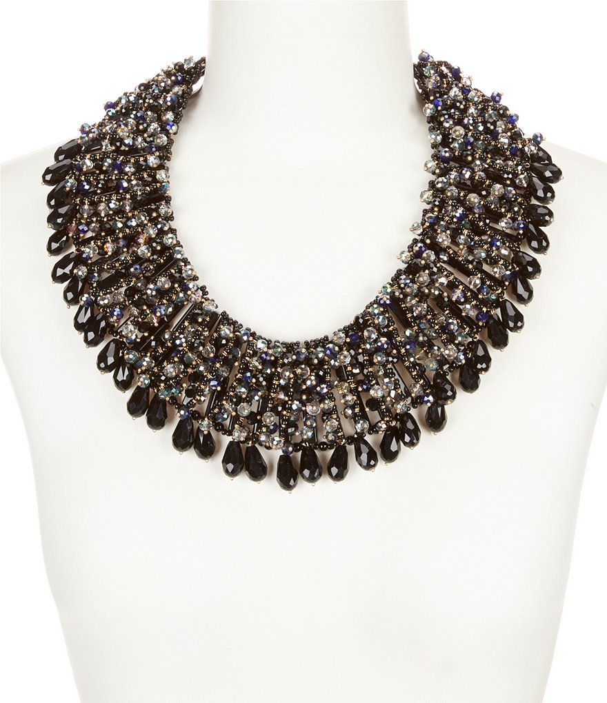 Natasha Accessories Crystal Beaded Statement Necklace