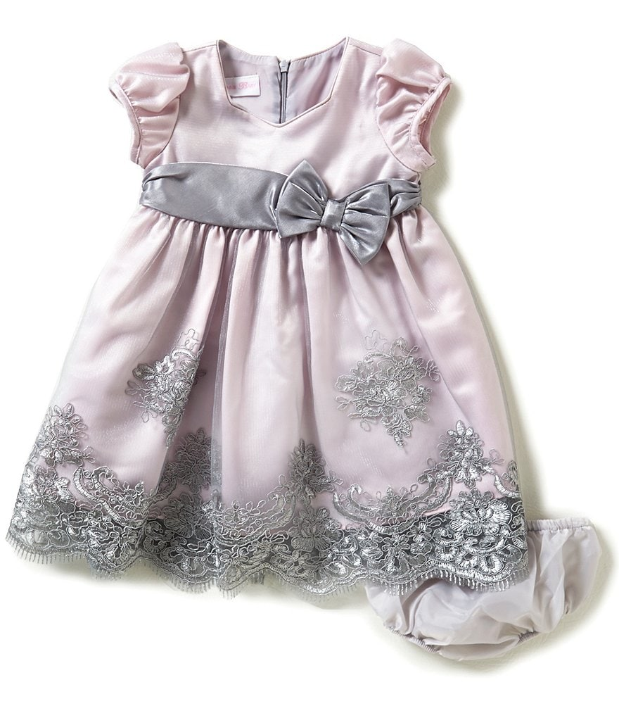Bonnie Baby Girls Newborn-24 Months Embroidered-Tulle-Skirted Dress