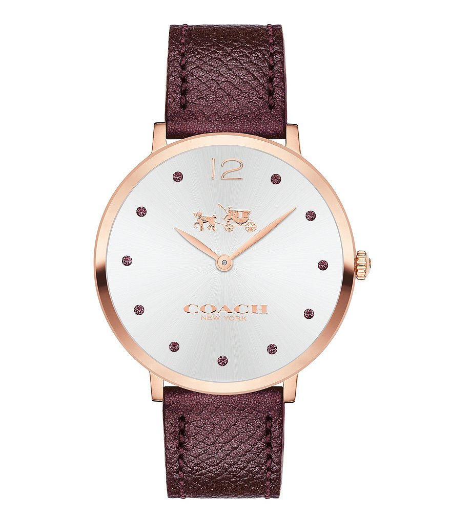 COACH SLIM EASTON METALLIC CHERRY LEATHER STRAP WATCH