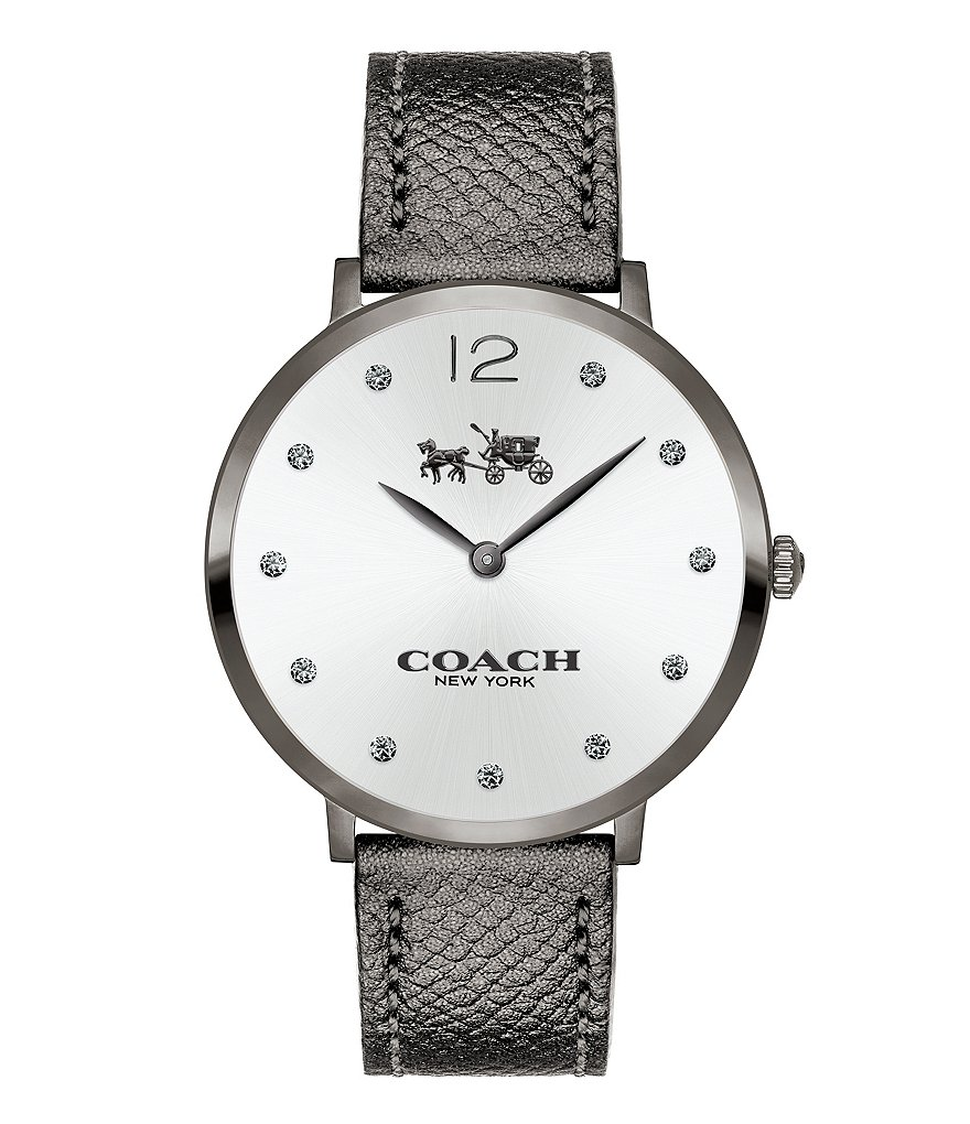 COACH SLIM EASTON GREY IP AND GUNMETAL METALLIC LEATHER STRAP WATCH