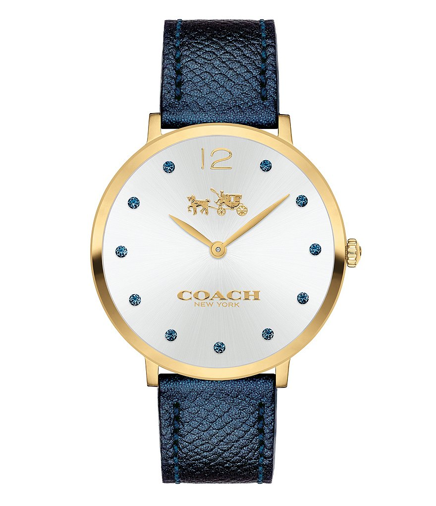 COACH SLIM EASTON MIDNIGHT BLUE METALLIC LEATHER STRAP WATCH