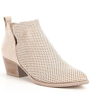 Dolce Vita Sonya Perforated Leather Slip-On Block Heel Booties