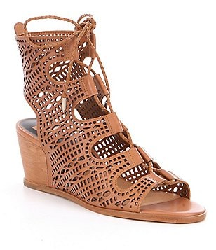 Dolce Vita Lamont Ghillie Perforated Lace-Up Wedge Sandals